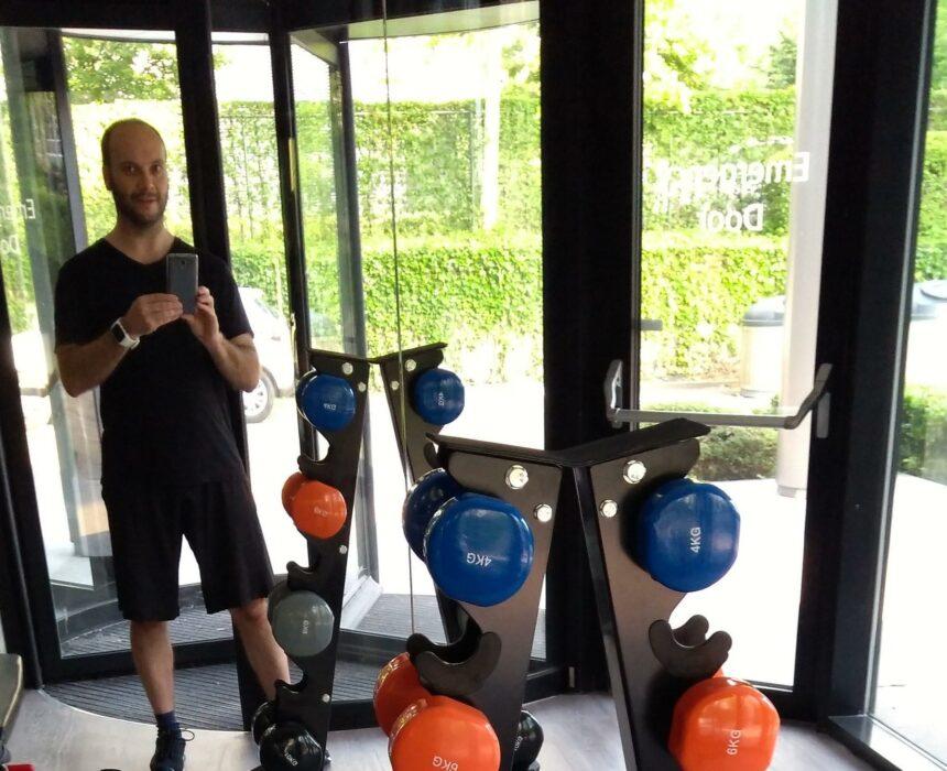 Selfie in de fitnessruimte